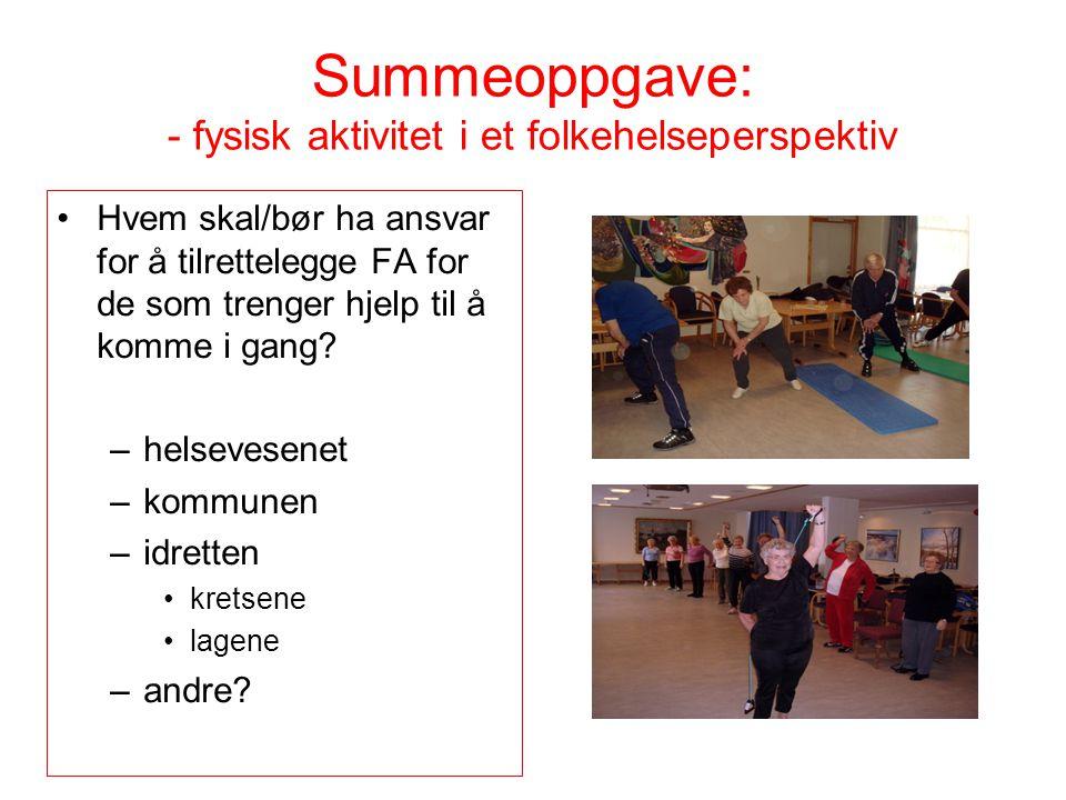 Summeoppgave: - fysisk aktivitet i et folkehelseperspektiv