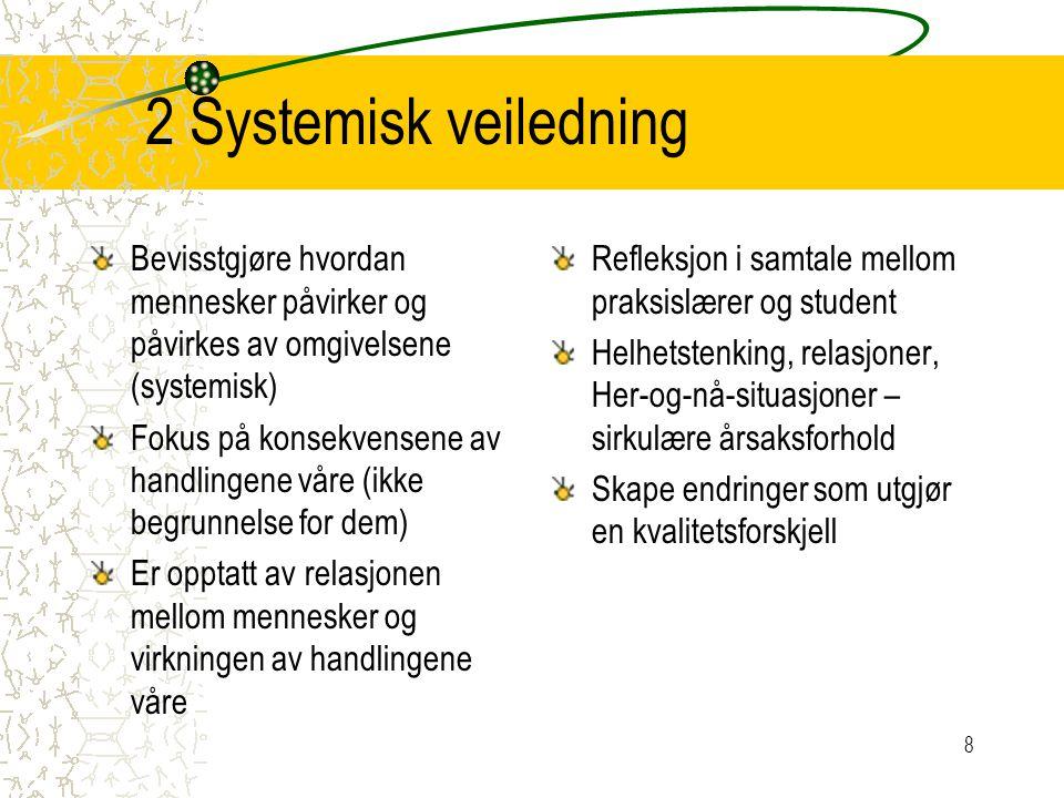 2 Systemisk veiledning Bevisstgjøre hvordan mennesker påvirker og påvirkes av omgivelsene (systemisk)