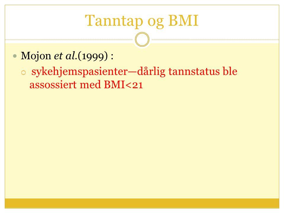 Tanntap og BMI Mojon et al.(1999) :