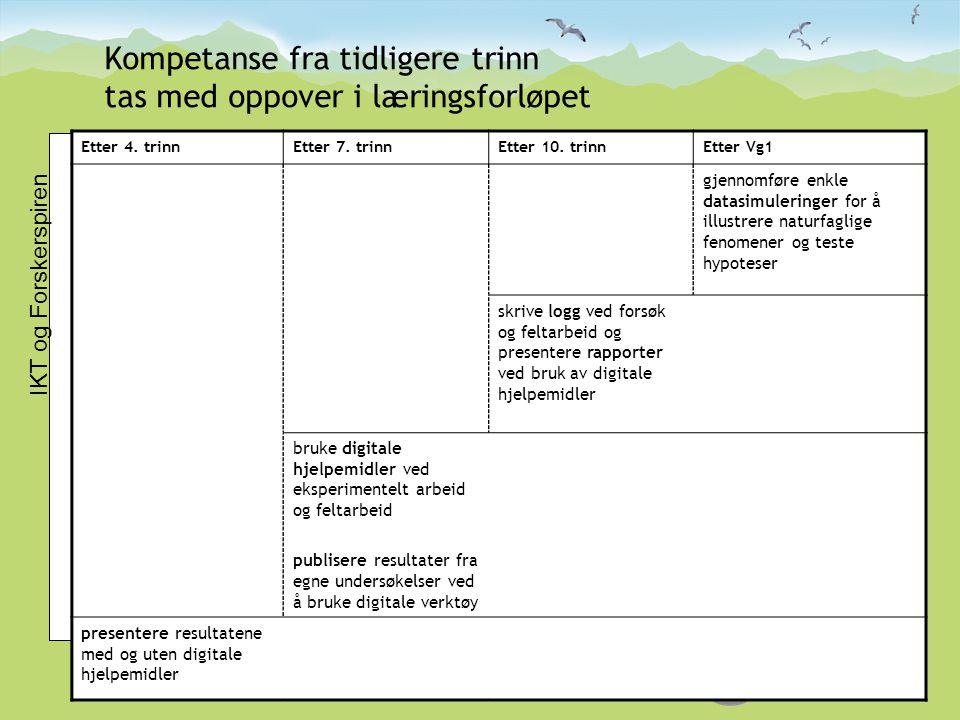 Kompetanse fra tidligere trinn tas med oppover i læringsforløpet