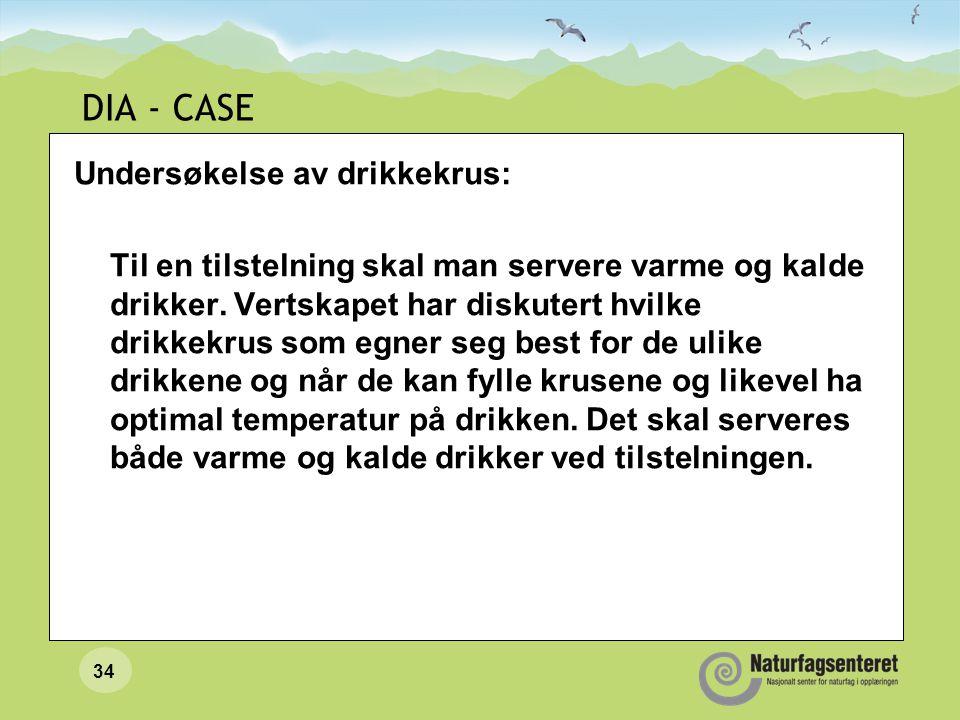 DIA - CASE Undersøkelse av drikkekrus: