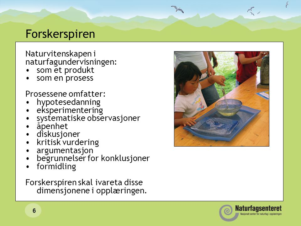 Forskerspiren Naturvitenskapen i naturfagundervisningen: