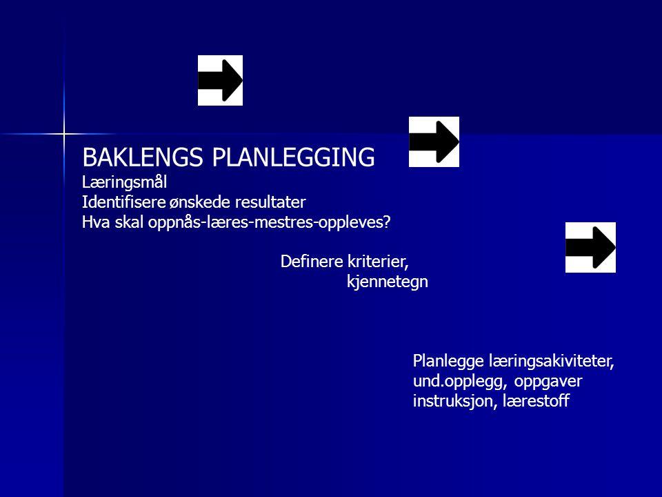 BAKLENGS PLANLEGGING Læringsmål Identifisere ønskede resultater