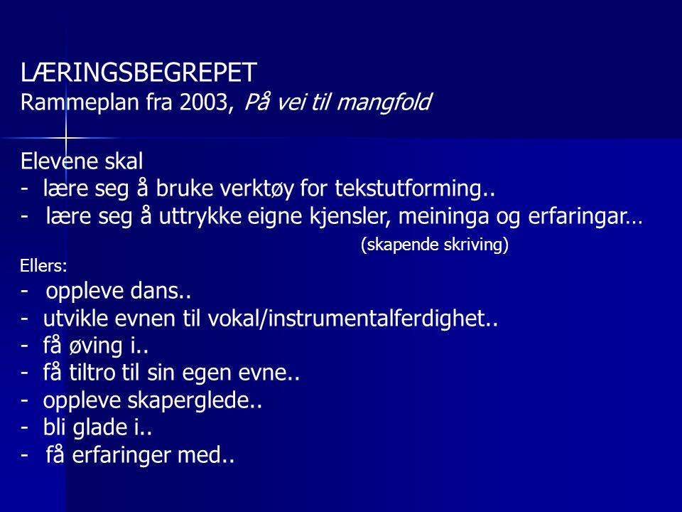LÆRINGSBEGREPET Rammeplan fra 2003, På vei til mangfold Elevene skal