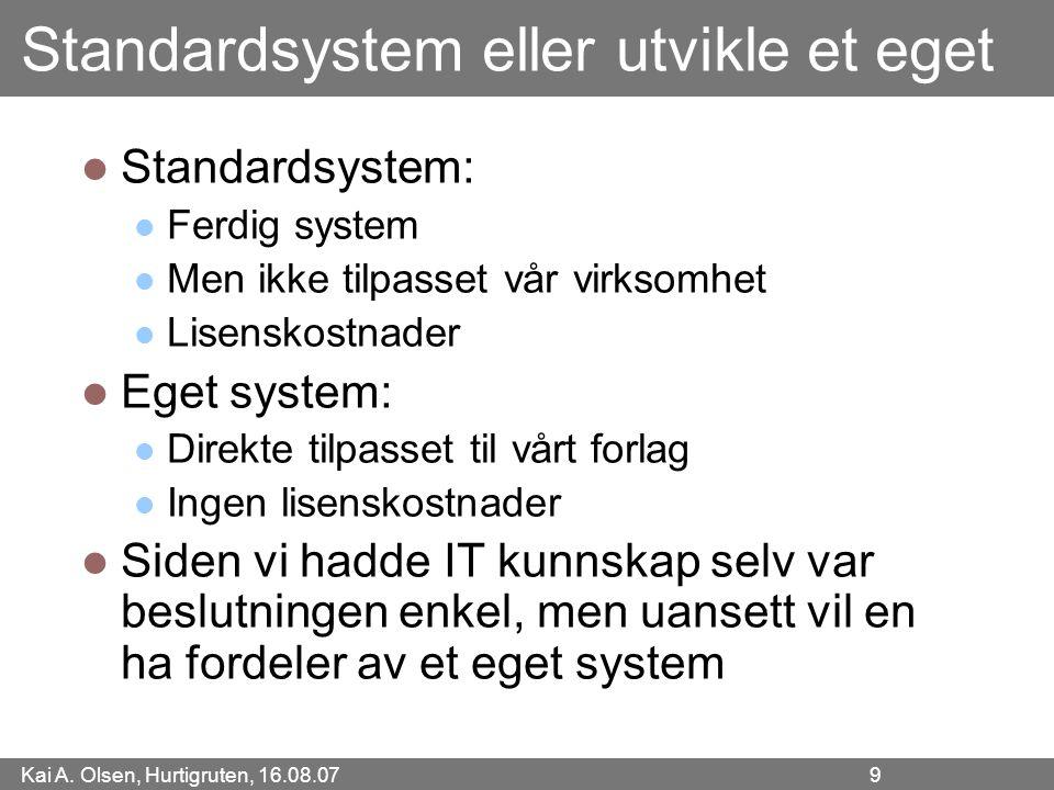 Standardsystem eller utvikle et eget