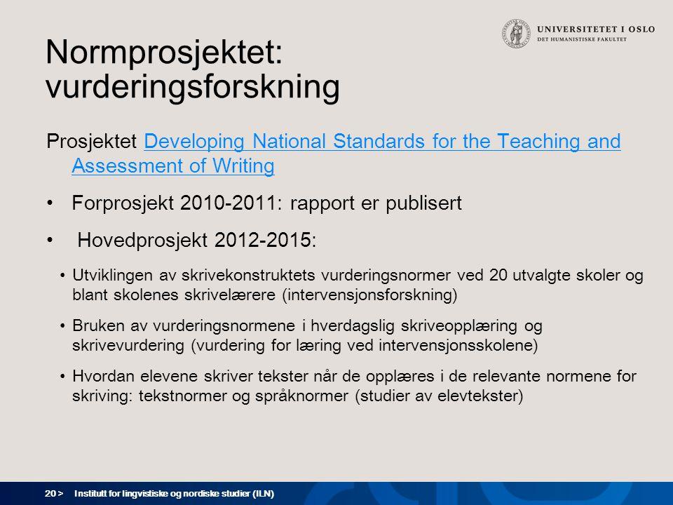 Normprosjektet: vurderingsforskning