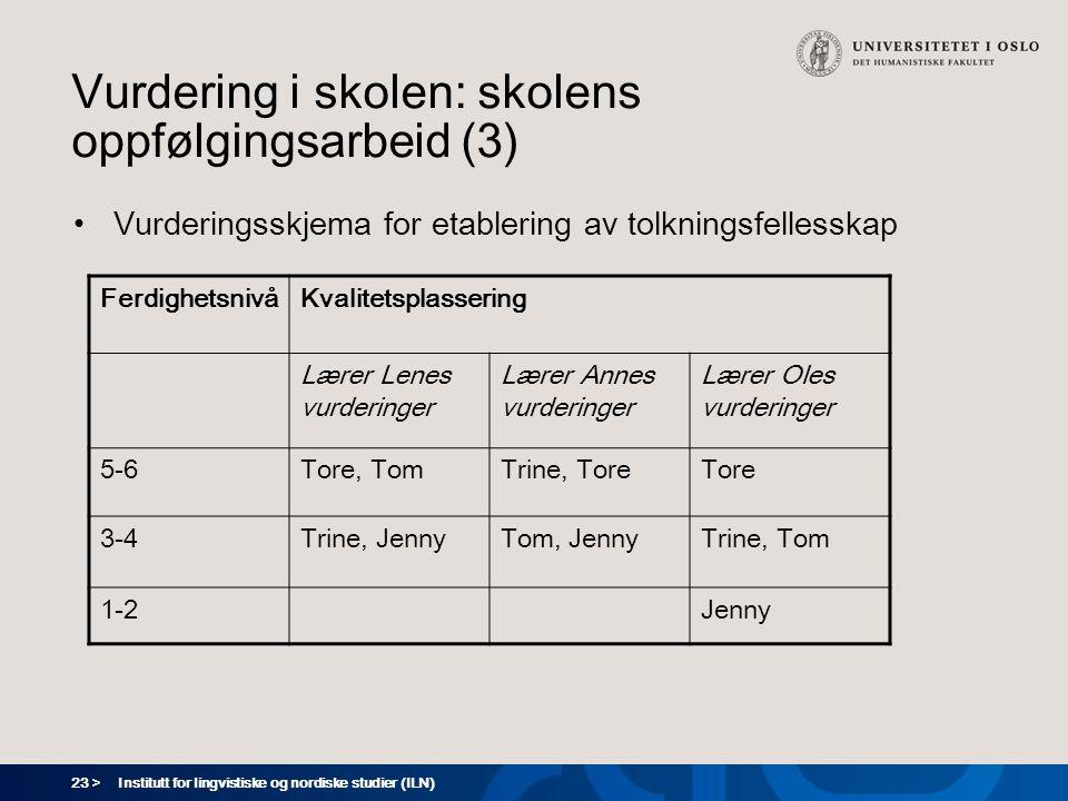 Vurdering i skolen: skolens oppfølgingsarbeid (3)