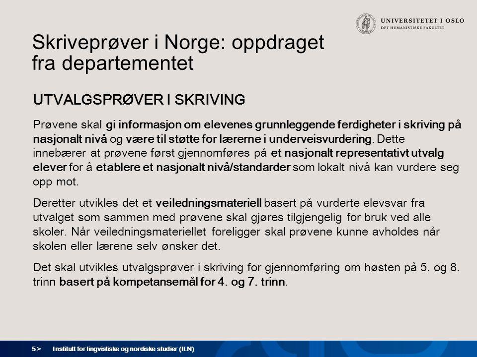 Skriveprøver i Norge: oppdraget fra departementet