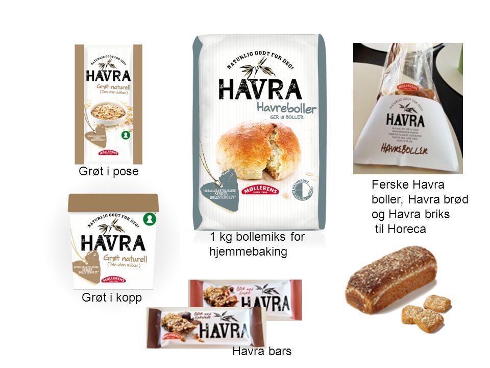 Grøt i pose Ferske Havra boller, Havra brød og Havra briks til Horeca. 1 kg bollemiks for hjemmebaking.