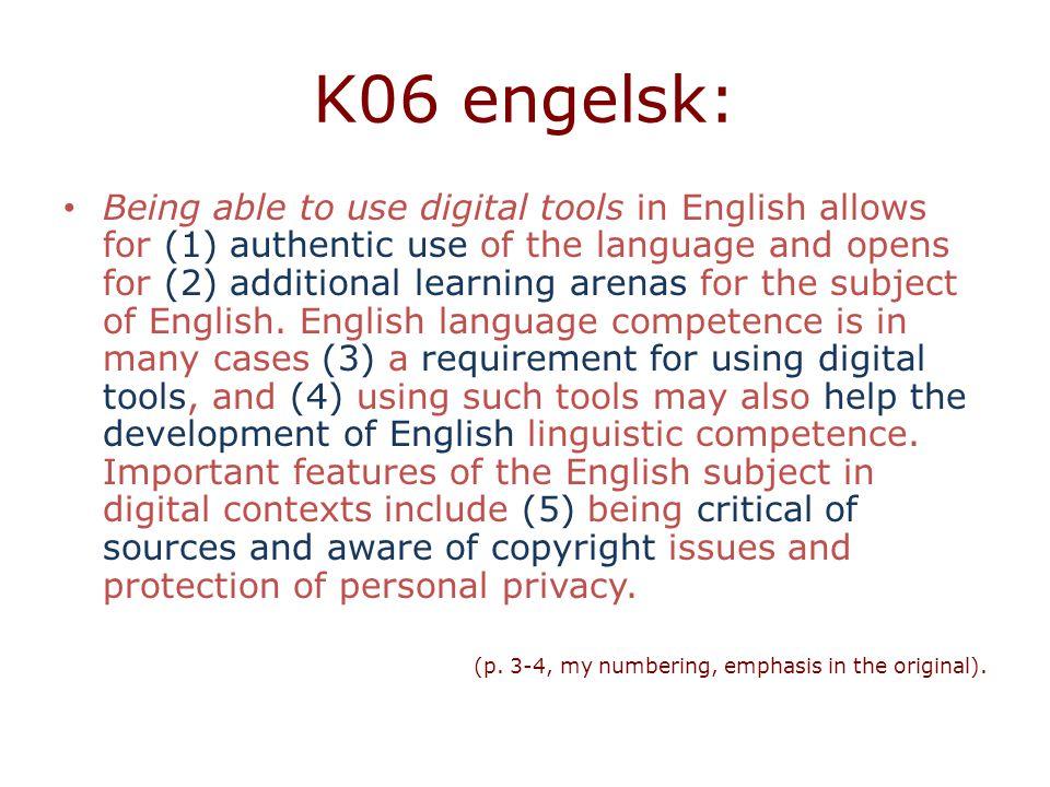 K06 engelsk: