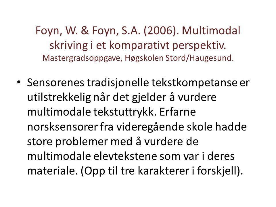 Foyn, W. & Foyn, S.A. (2006). Multimodal skriving i et komparativt perspektiv. Mastergradsoppgave, Høgskolen Stord/Haugesund.