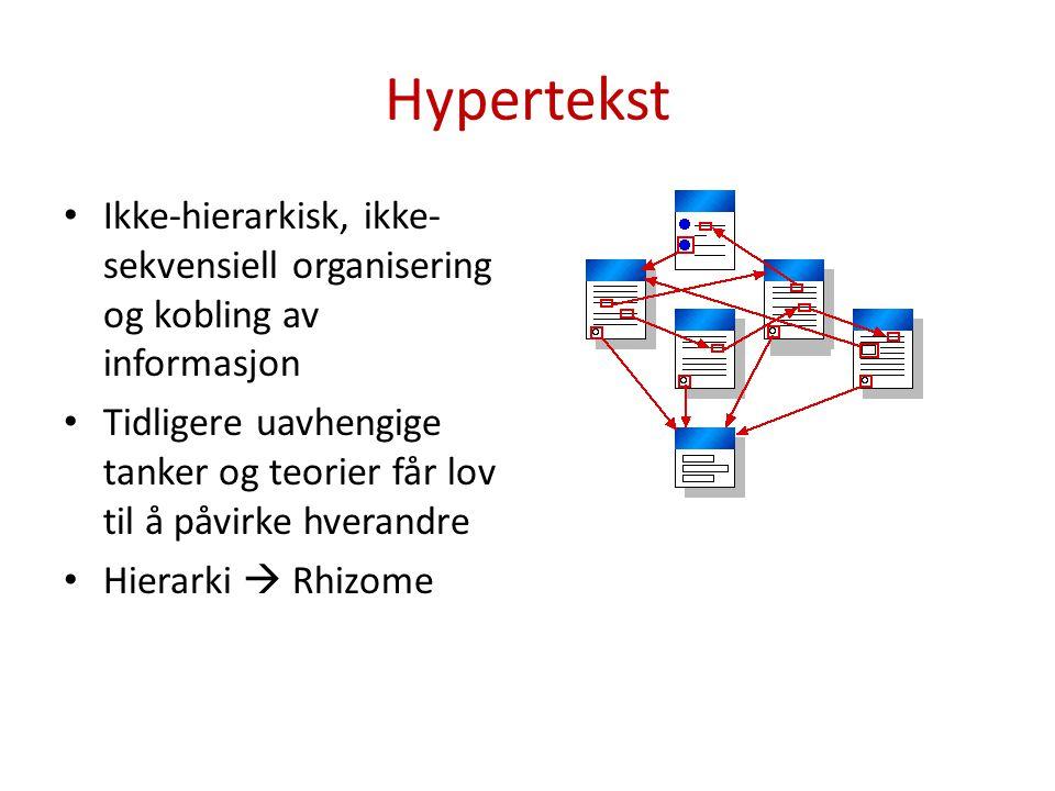 Hypertekst Ikke-hierarkisk, ikke-sekvensiell organisering og kobling av informasjon.