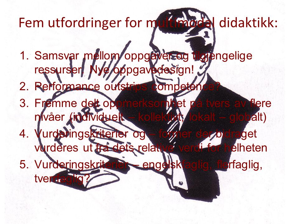 Fem utfordringer for multimodal didaktikk: