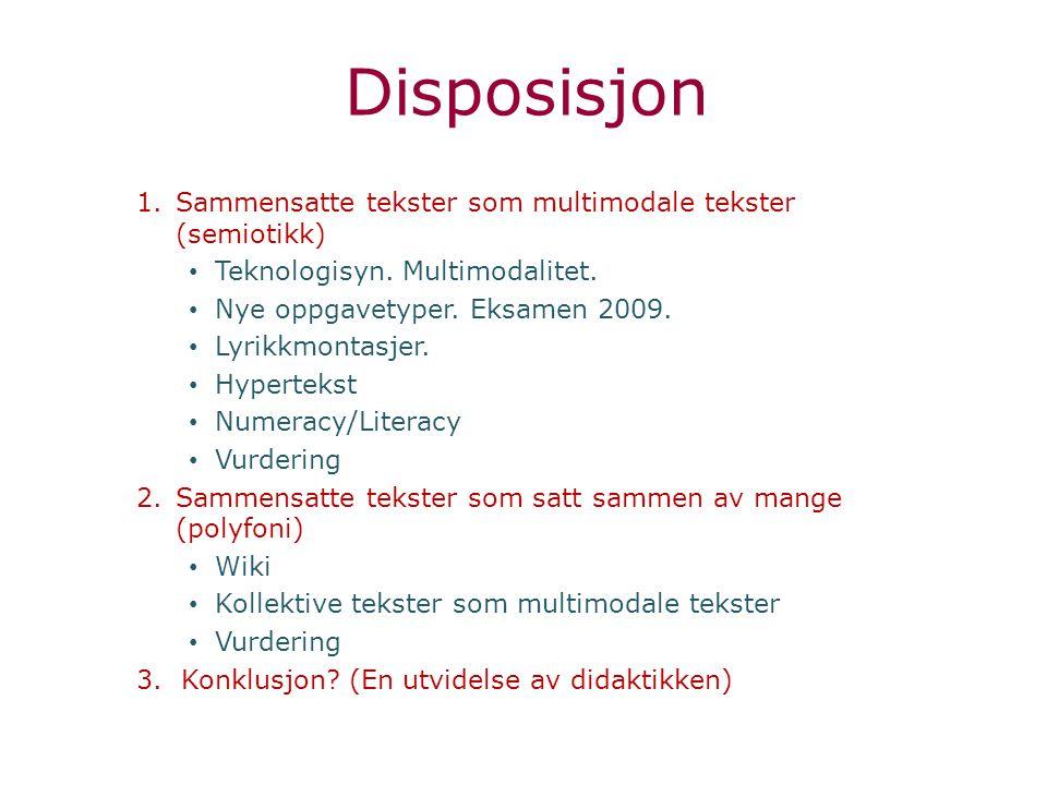 Disposisjon Sammensatte tekster som multimodale tekster (semiotikk)