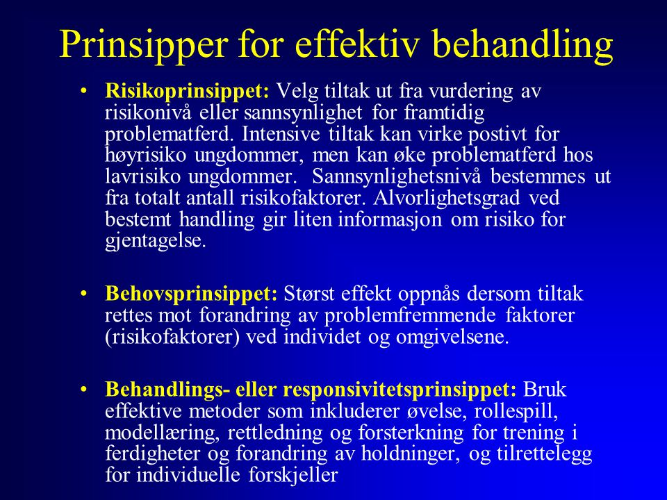 Prinsipper for effektiv behandling