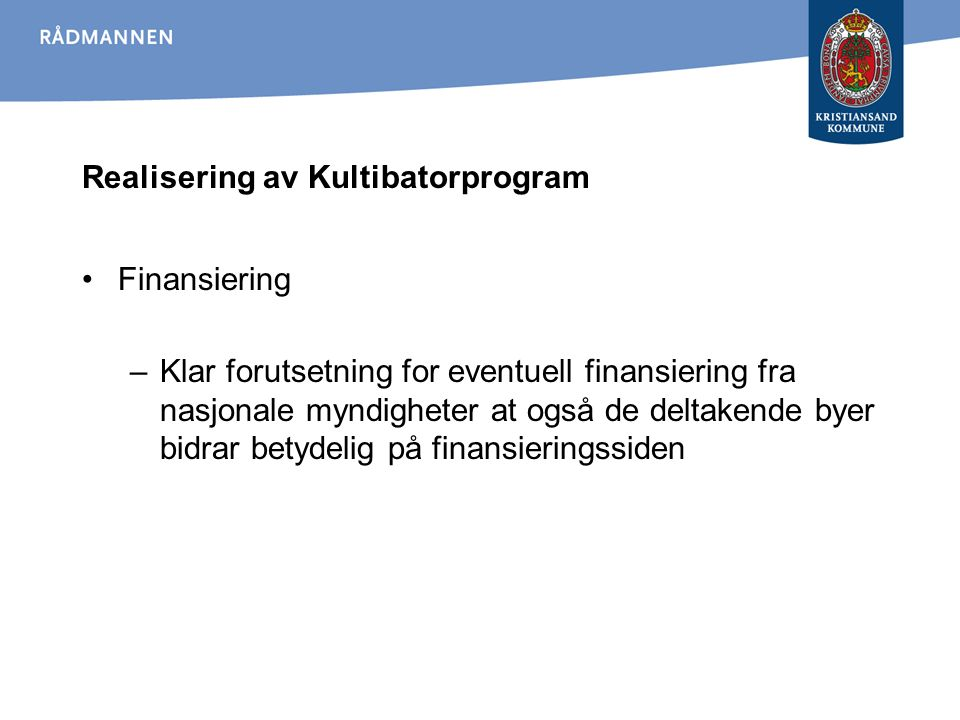 Realisering av Kultibatorprogram