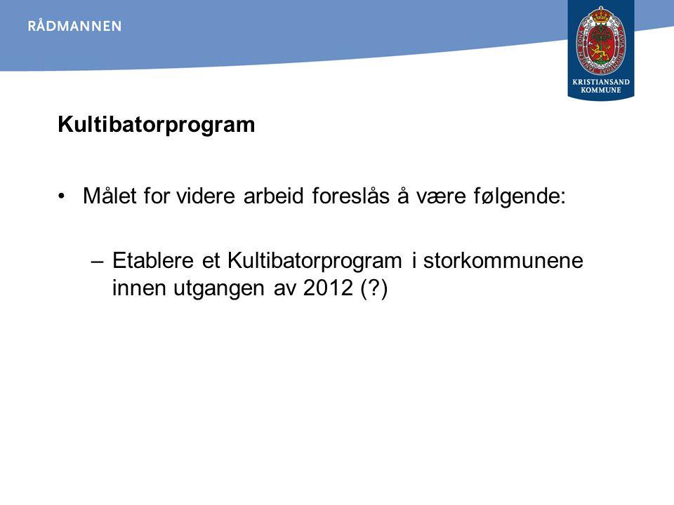 Kultibatorprogram Målet for videre arbeid foreslås å være følgende: Etablere et Kultibatorprogram i storkommunene innen utgangen av 2012 ( )