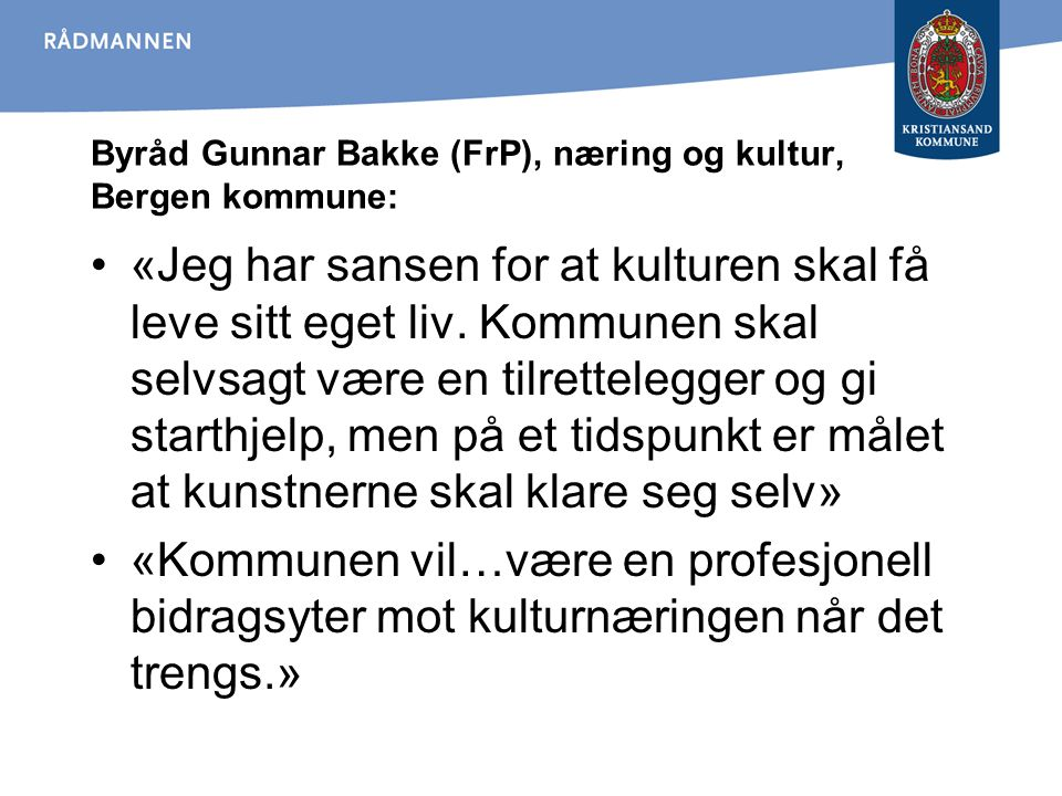 Byråd Gunnar Bakke (FrP), næring og kultur, Bergen kommune: