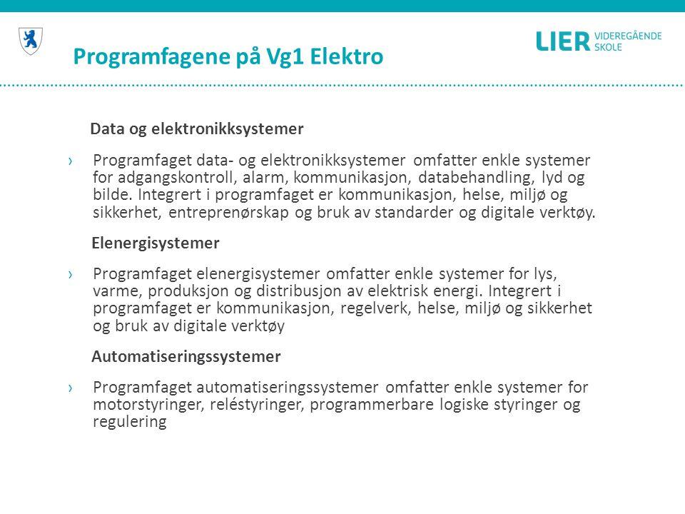 Programfagene på Vg1 Elektro