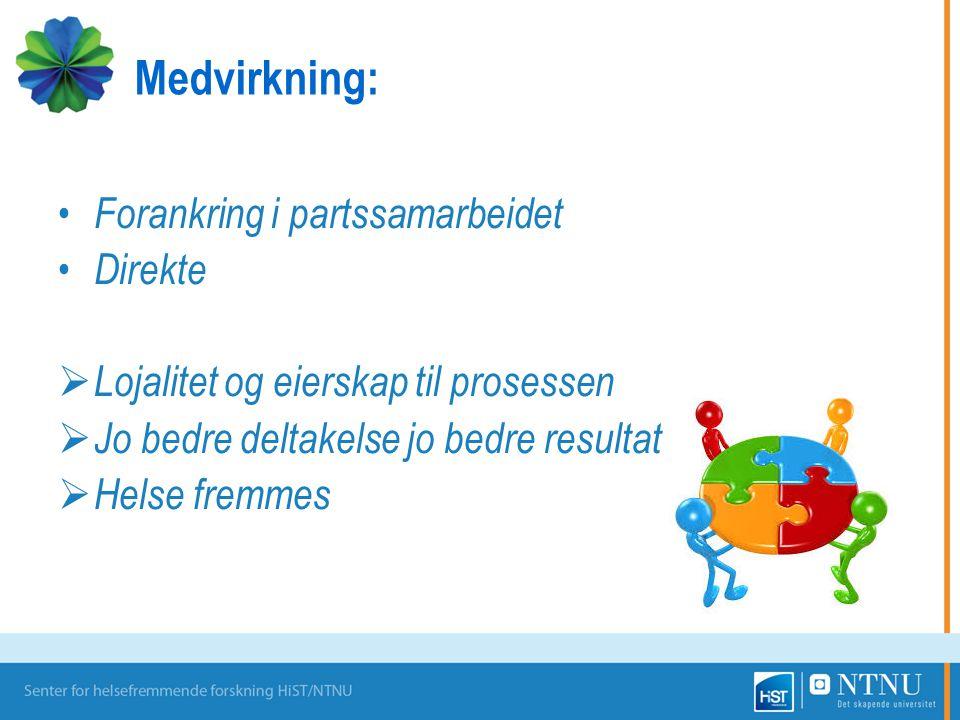 Medvirkning: Forankring i partssamarbeidet Direkte
