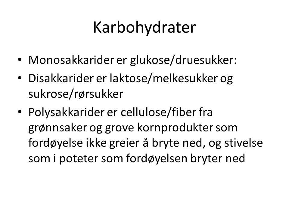 Karbohydrater Monosakkarider er glukose/druesukker: