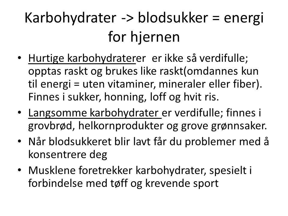 Karbohydrater -> blodsukker = energi for hjernen