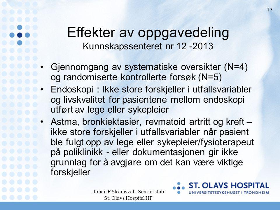 Effekter av oppgavedeling Kunnskapssenteret nr 12 -2013