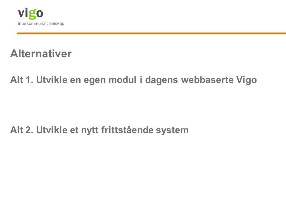 Alternativer Alt 1. Utvikle en egen modul i dagens webbaserte Vigo