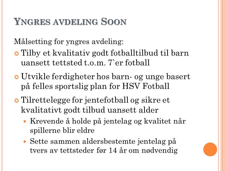 Yngres avdeling Soon Målsetting for yngres avdeling: Tilby et kvalitativ godt fotballtilbud til barn uansett tettsted t.o.m. 7`er fotball.