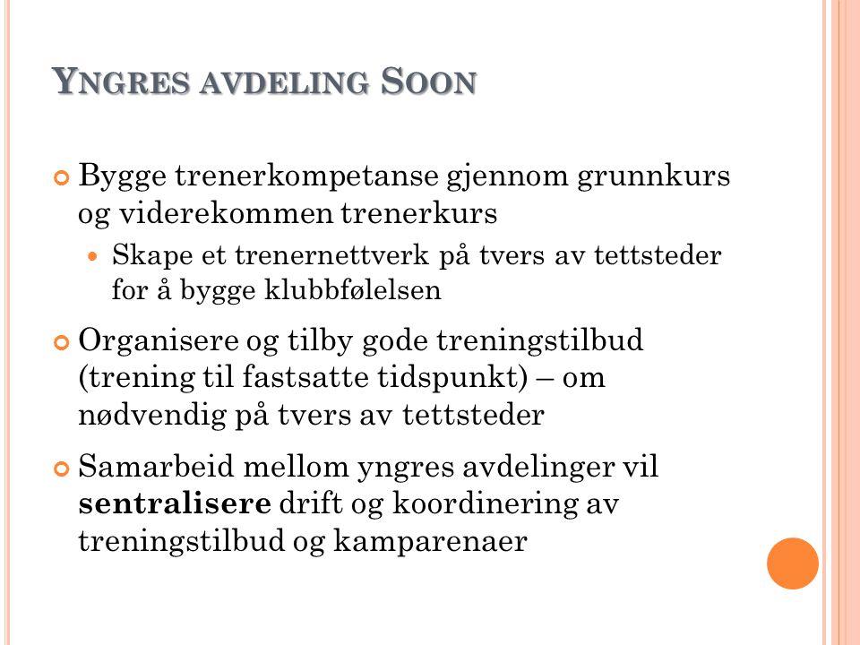 Yngres avdeling Soon Bygge trenerkompetanse gjennom grunnkurs og viderekommen trenerkurs.