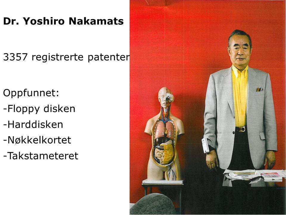 Dr. Yoshiro Nakamats 3357 registrerte patenter. Oppfunnet: Floppy disken. Harddisken. Nøkkelkortet.