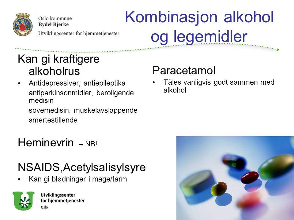 Kombinasjon alkohol og legemidler