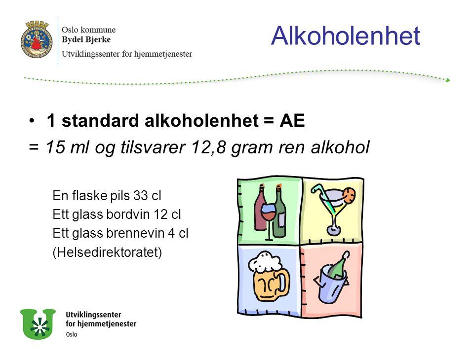Alkoholenhet 1 standard alkoholenhet = AE