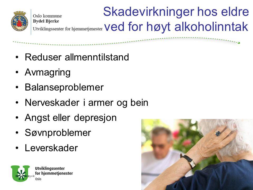 Skadevirkninger hos eldre ved for høyt alkoholinntak