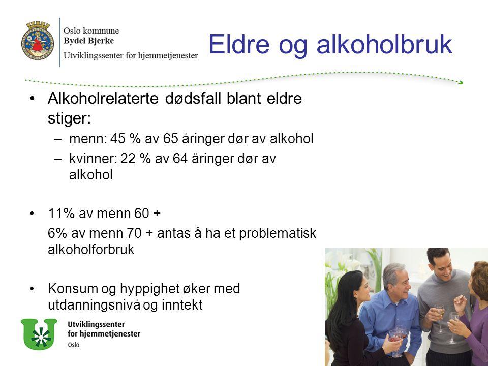 Eldre og alkoholbruk Alkoholrelaterte dødsfall blant eldre stiger: