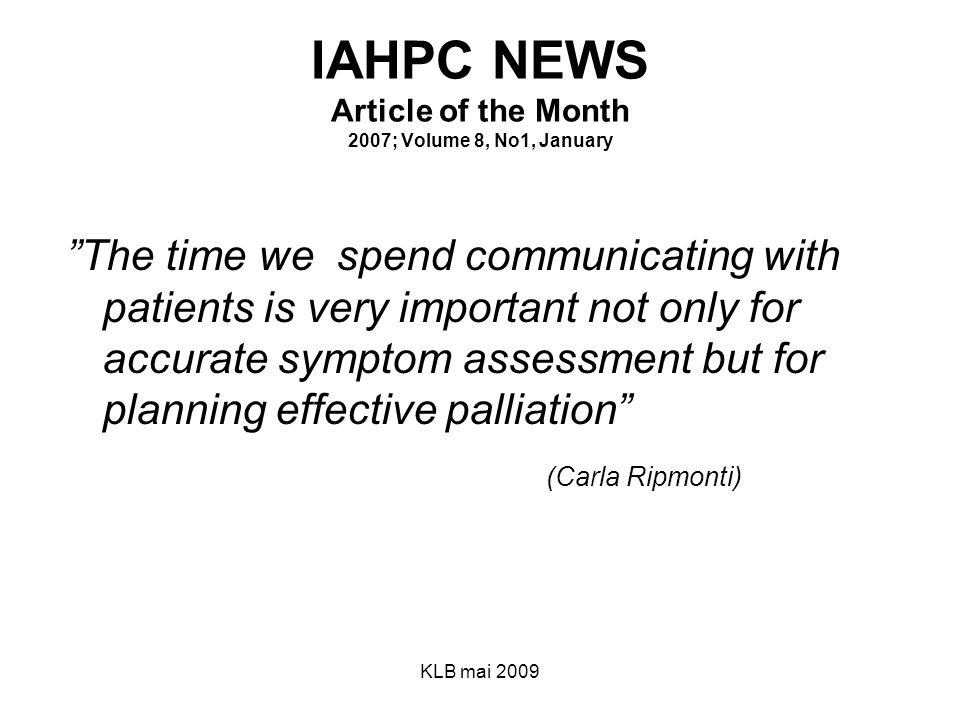 IAHPC NEWS Article of the Month 2007; Volume 8, No1, January