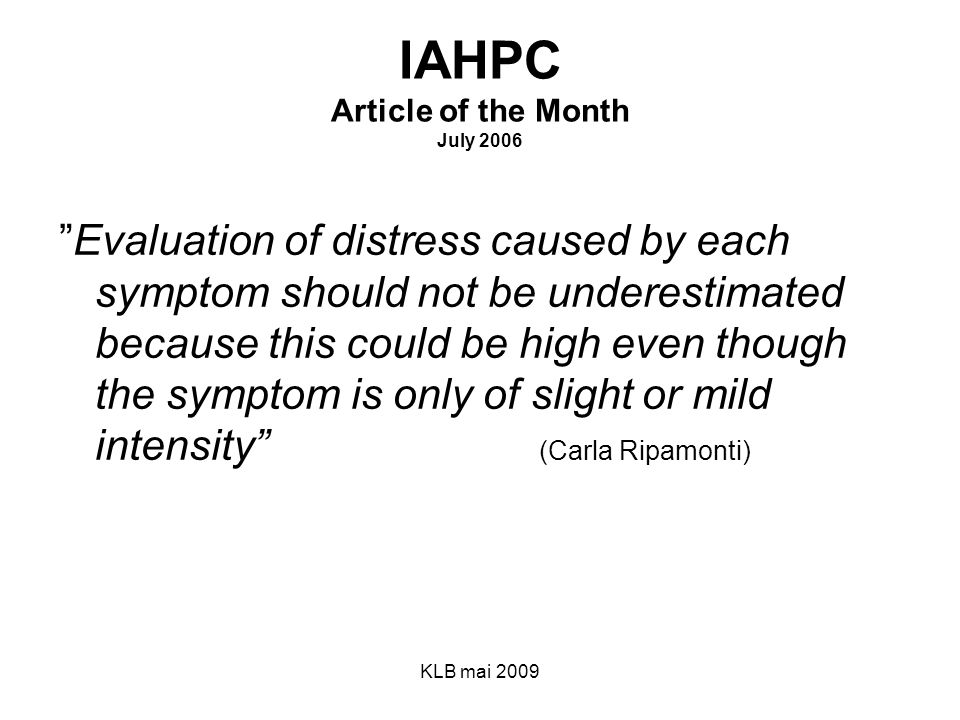 IAHPC Article of the Month July 2006