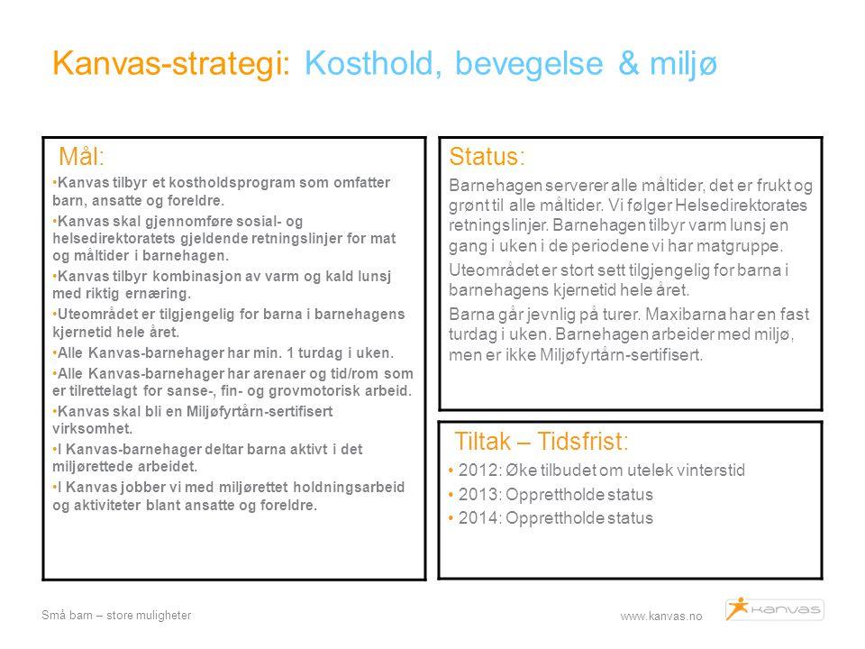 Kanvas-strategi: Kosthold, bevegelse & miljø