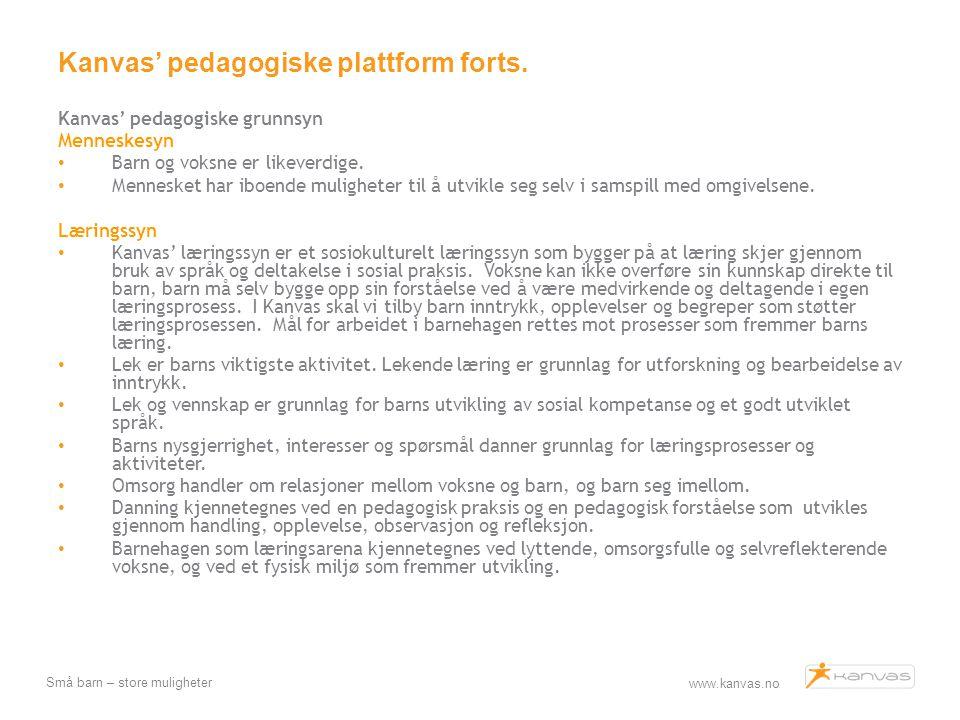 Kanvas' pedagogiske plattform forts.