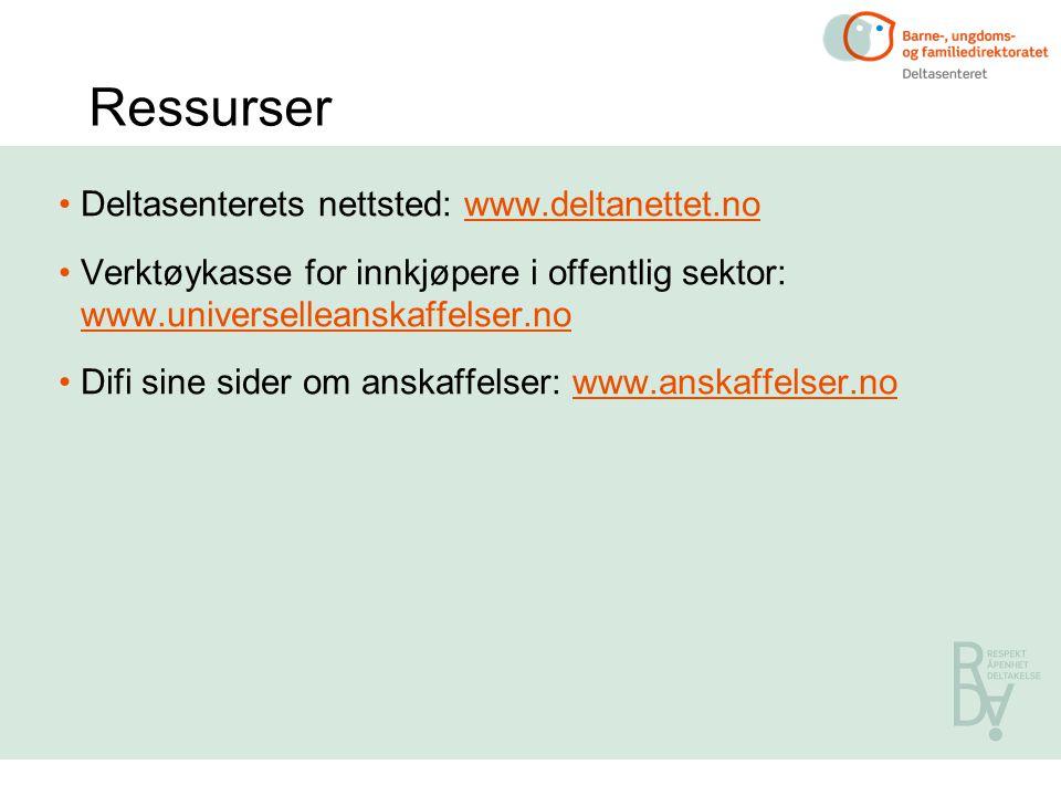 Ressurser Deltasenterets nettsted: www.deltanettet.no