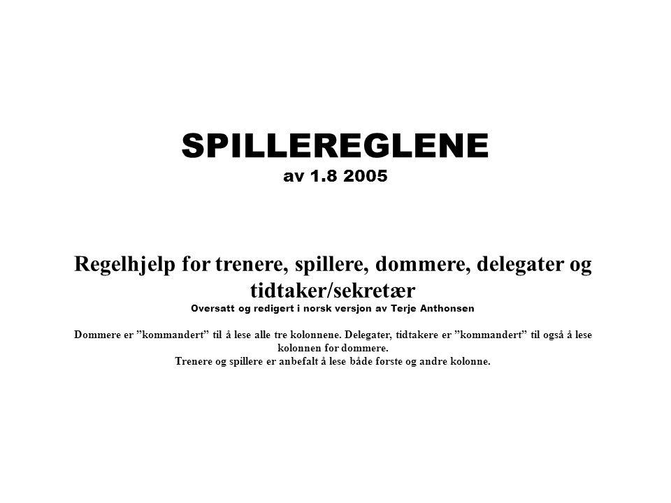 SPILLEREGLENE av 1.8 2005. Regelhjelp for trenere, spillere, dommere, delegater og tidtaker/sekretær.