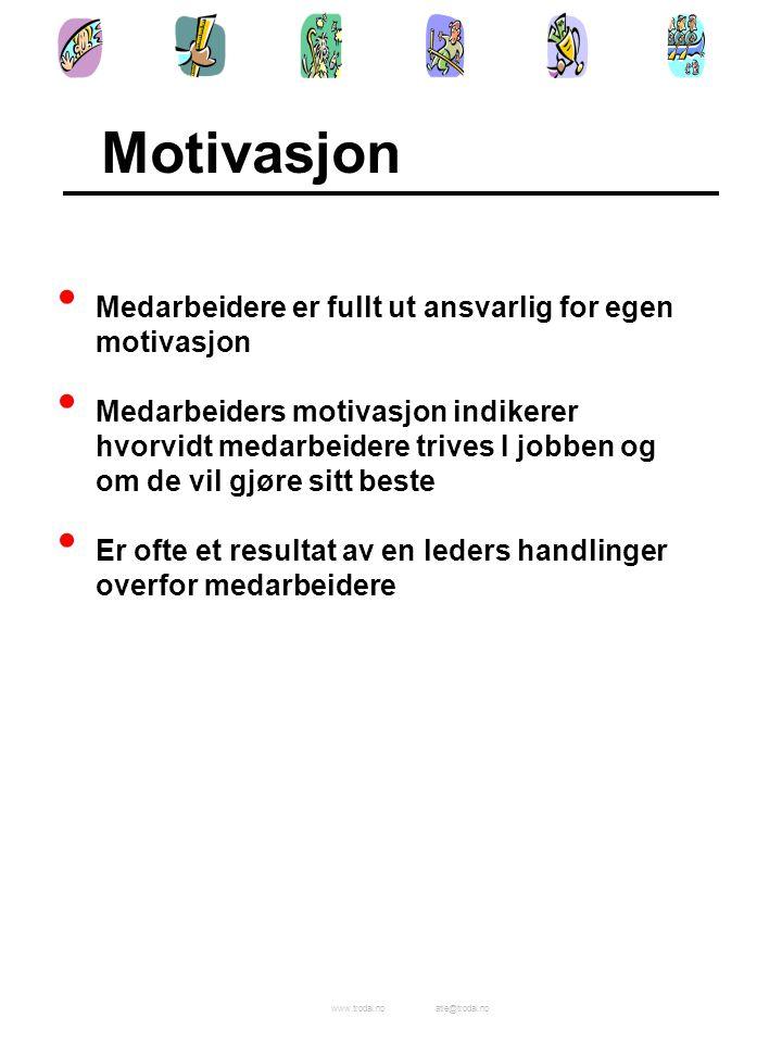 Motivasjon Medarbeidere er fullt ut ansvarlig for egen motivasjon
