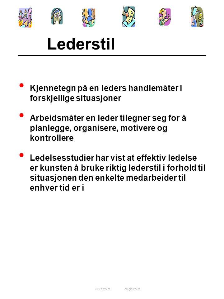 Lederstil Kjennetegn på en leders handlemåter i forskjellige situasjoner.