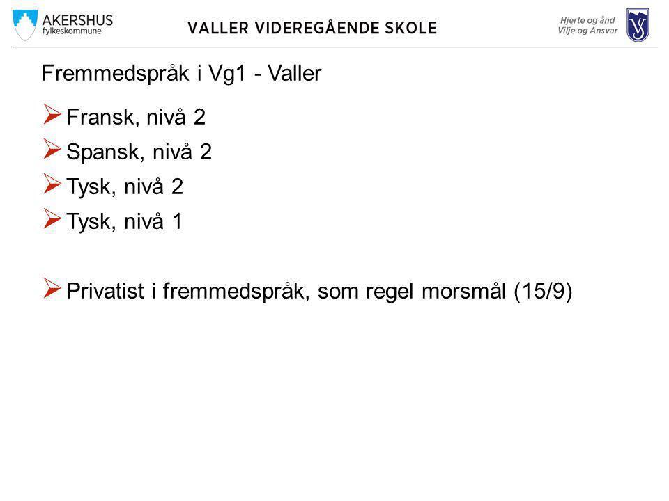 Fremmedspråk i Vg1 - Valler