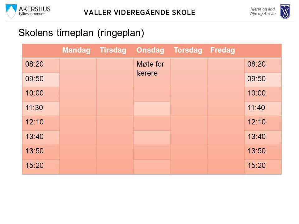 Skolens timeplan (ringeplan)