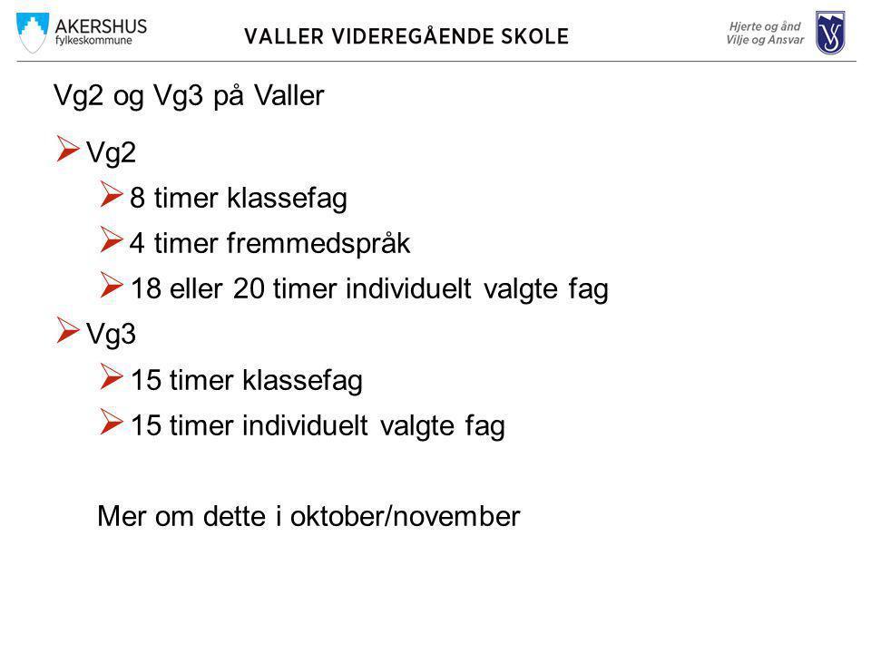Vg2 og Vg3 på Valler Vg2. 8 timer klassefag. 4 timer fremmedspråk. 18 eller 20 timer individuelt valgte fag.