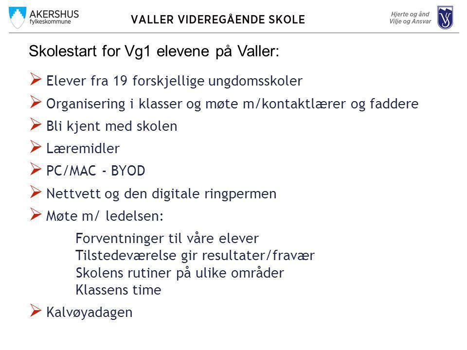 Skolestart for Vg1 elevene på Valler: