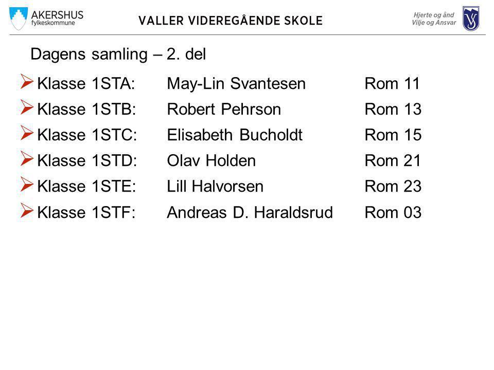 Dagens samling – 2. del Klasse 1STA: May-Lin Svantesen Rom 11. Klasse 1STB: Robert Pehrson Rom 13.