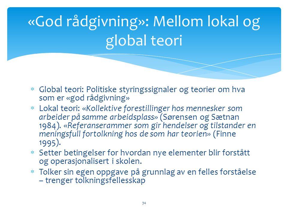 «God rådgivning»: Mellom lokal og global teori