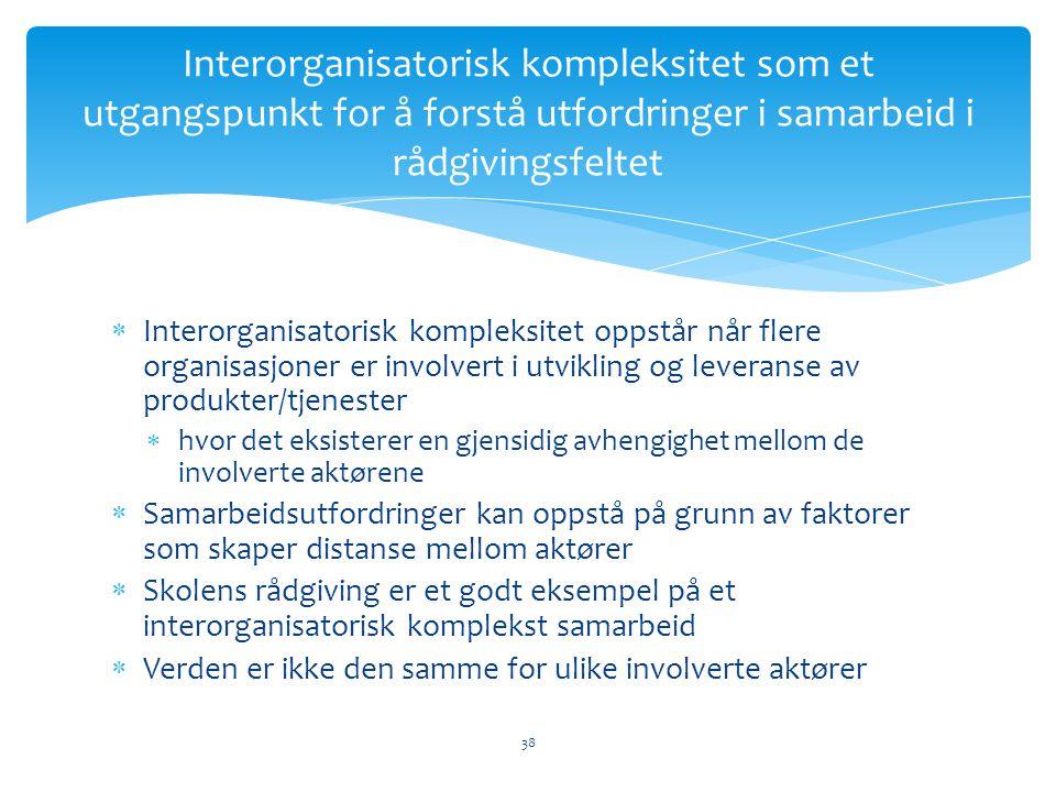 Interorganisatorisk kompleksitet som et utgangspunkt for å forstå utfordringer i samarbeid i rådgivingsfeltet
